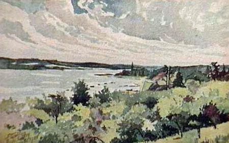 La pointe de Sillery et le St-Laurent, Québec as seen from the Plains of Abraham (painting by Léonce Cuvelier, courtesy Library and Archives Canada).