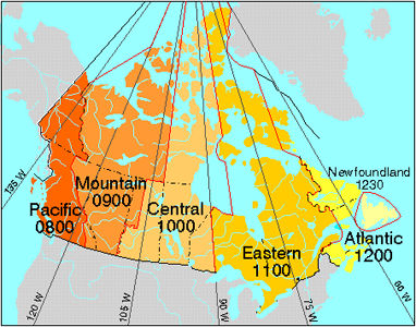 Map Of Time Zones Canada And Usa.Time Zones And Legal Time The Canadian Encyclopedia